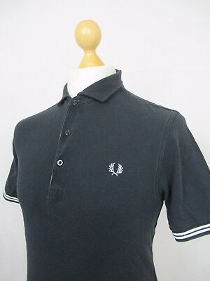 Fred Perry |  Tipped Gingham Trim Pique Polo Shirt Slim Fit Large (Black)