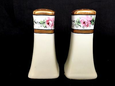 Porcelain Hand Painted Signed Pink Floral Gold Gild Salt & Pepper Shakers