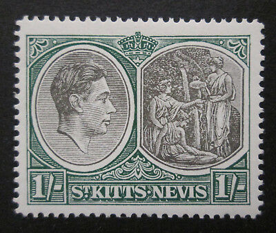 St. Kitts Nevis 1938 KGVI  1s Green & Grey Blk  Perf. 14 VF  MLH  Sc 86  SG 75a