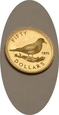 1975 GOLD $50 Fifty Dollars of Bahamas PROOF Tobacco Dove .917 Fine Gold