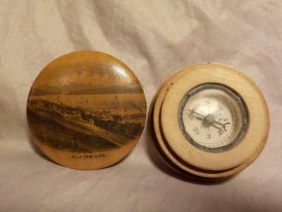 Antique Mauchline Ware Treen Pocket Compass, Picture Of Blairmore, Argyll On Lid