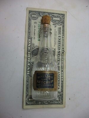 Small Salesman Sample Blue Label Ketchup Bottle With Label