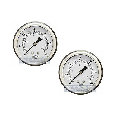 "2 Pack Liquid Filled Pressure Gauge 0-60 Psi, 2.5"" Face, 1/4"" Back Mount Wog"