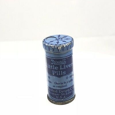 Antique REXALL Drug Store Apothecary little liver pills tin United Drug Advertis