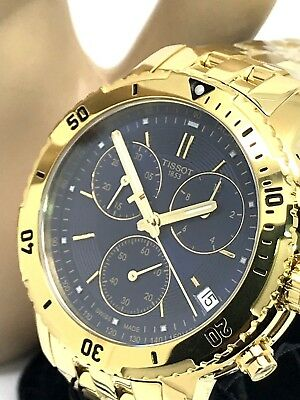8641ddbe9 Tissot PRS 200 Chronograph Blue Dial Gold Tone S\S Mens Watch T067.417.33