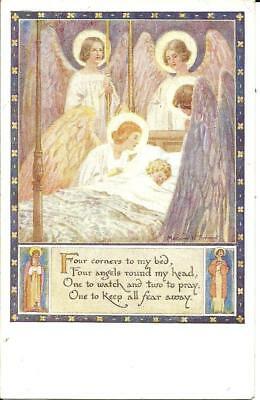 """NURSERY RHYME POSTCARD """"FOUR CORNERS TO MY BED"""" (COLOUR PRINTED) c1930"""