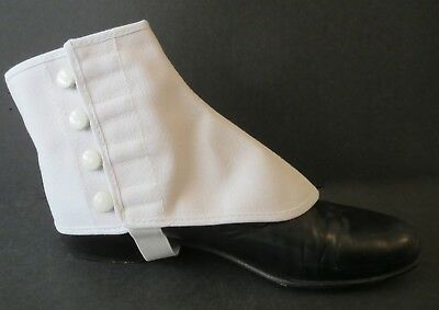 Spats Shoe Covers Snaps Buttons Elastic Adult L/XL White