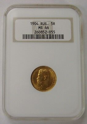 Russia - 1904 - Gold 5 Roubles - NGC MS 66