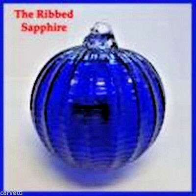 "Hanging Glass Ball 4"" Diameter Cobalt Blue Ridged Friendship Ball (1) HGB14-1"