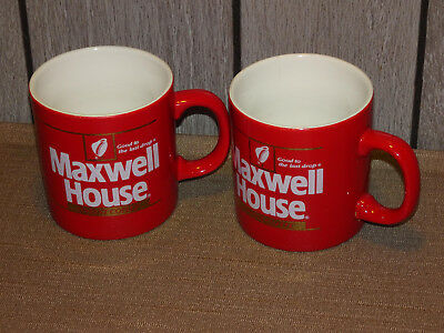 2 Red Vintage 1980's Instant Maxwell House Coffee Cups / Mugs England Nice