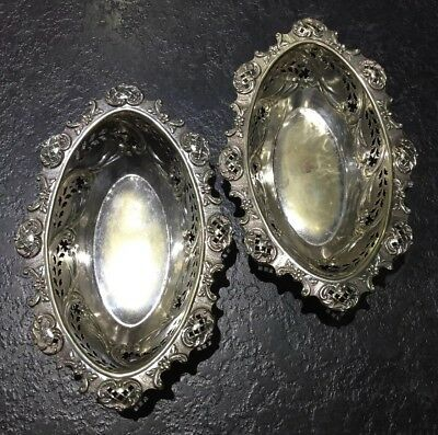 Antique Victorian Silver Plated Ornate Matching Pair Of Bon Bon Dishes/bowls.