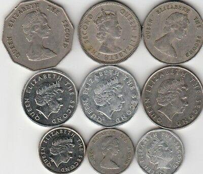 9 different world coins from EASTERN CARIBBEAN