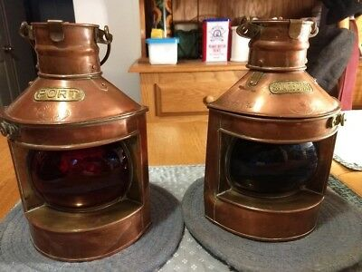 PAIR of VINTAGE PORT AND STARBOARDNAUTICAL LAMPS by TUNG WOO