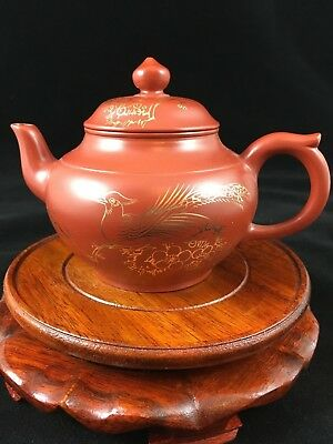 Small Red Zisha Clay Yixing Teapot with Golden Peacock Decoration