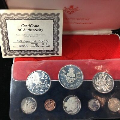 Cayman Islands 1974 Gem Proof 8 Coin Set with SILVER w/Box and COA