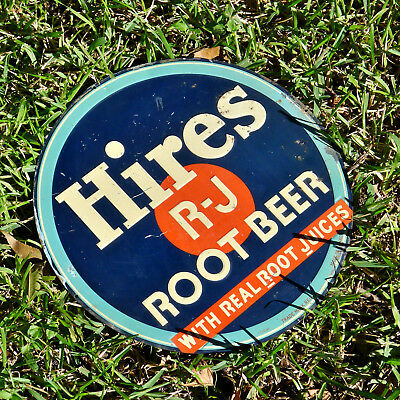 VTG 1950s HIRES Root Beer Soda Bottle Real Root Juices Metal Embossed Sign