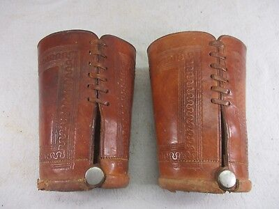 """Vintage Hand Tooled Leather Western Cowboy Rodeo Cuffs Bracers Gauntlets 6"""""""