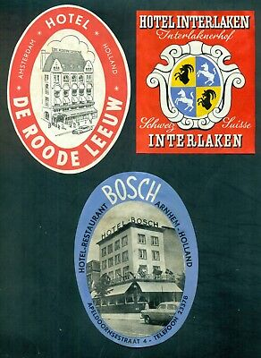 1950's European Hotel Baggage Labels Group