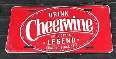 Metal Cheerwine License Plate New Old Stock In Cello Salisbury NC N.C. Christmas