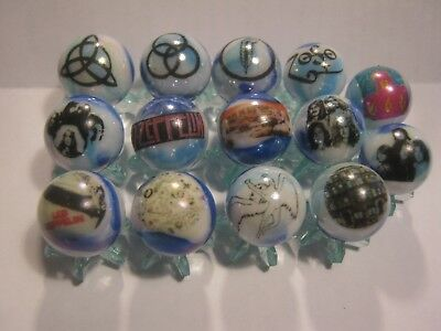 LED ZEPPELIN GLASS MARBLES 5/8 SIZE collection lot & STANDS