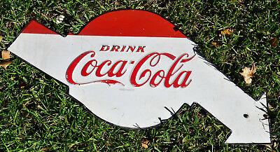 VTG 1950s Drink COCA COLA Arrow Heavy Metal Embossed Sign Coke RARE Advertising