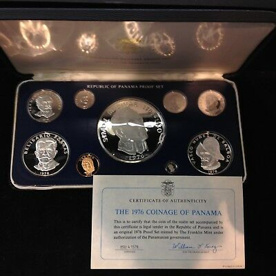 1976 Panama Coinage Proof Set 3 Silver Coins in Presentation Case With the COA