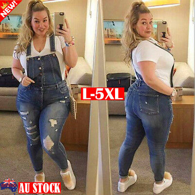 Plus Size Women Casual Overalls Jumpsuit Ripped Jeans Denim Dungarees Long Pants