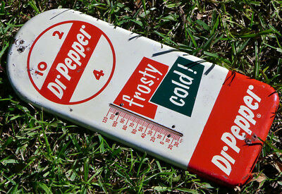 VTG 1950s Dr Pepper Tin Metal Thermometer Frosty Cold Soda Pop Advertising