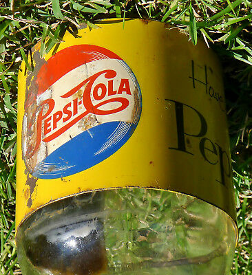 VTG 1950s RARE Metal Tin Sign Label PEPSI COLA 1 Gallon Syrup Bottle Advertising