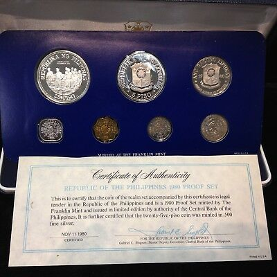 1980 Philippines - 8 Coin Proof Set with SILVER w/Box and COA