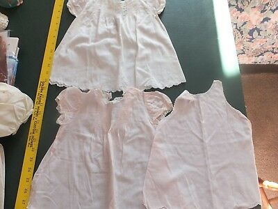 LOT OF 3 VINTAGE 2 BABY DRESS 1 SLIP SZ 6-9 MOS? iPALE pink & white