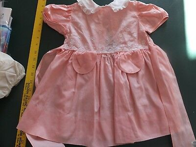 VINTAGE  BABY DRESS  young toddler peach LACE AND EMBRODIERY