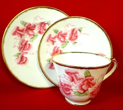 ART DECO China TRIO Salisbury SWEET PEA Floral VINTAGE Tea Time SHABBY CHIC