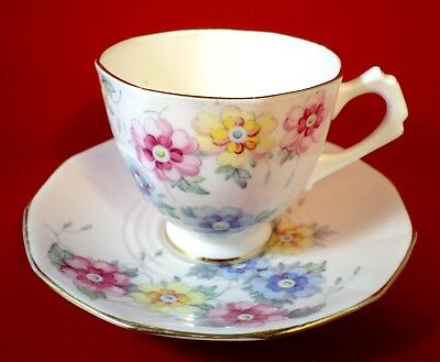 ART DECO China TUSCAN Cup & Saucer Duo R.H.PLANT Floral PINK Shabby Chic VINTAGE