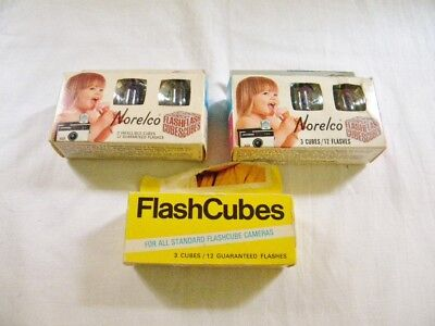 9 Vintage GE & Norelco Flash Cubes 36 Flashes - 3 Packages - NH Estate