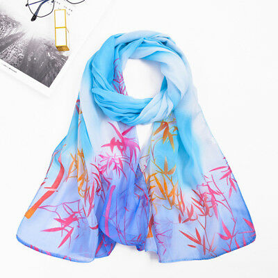Women Warm Soft Long Voile Large Scarf Wrap Lady Bamboo Leaves Printed Shawl LD