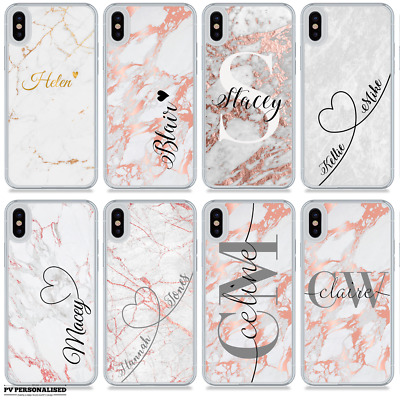 Name Initials Marble Personalised Phone Case Hard Cover For Apple Iphone