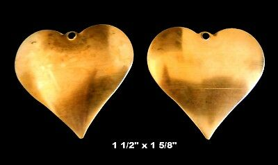 Vintage Raw Brass Stamping of  Large Hearts /    2 Pieces / Slightly Bombe'