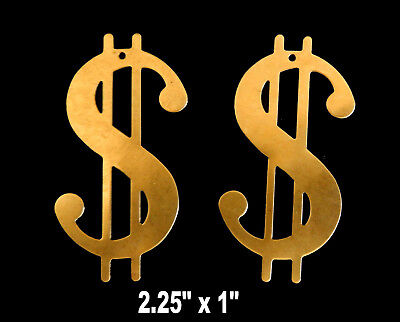 Vintage Raw Brass Stamping of  Large Dollar Sign   2 Pieces / Flat