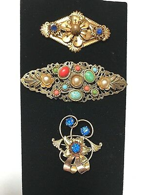 VinTage ArT DeCo 3 Pin Brooch MuLTi CoLorS Blue Harry ISKIN G.F. C-cLasps NICE!