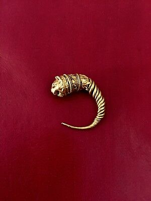 Large Ancient Greek Gold Lion Head Earring