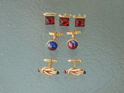 Cool Vintage 1950s 1960s Retro Mid Century Jeweled gold tone cufflinks Lot