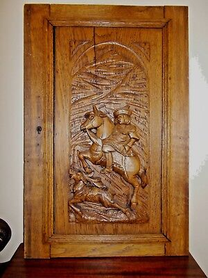 Antique European Wood Carved Panel, Hunting Scene