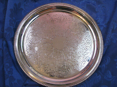 Silver Vintage 12 inch Serving Tray Silver on Copper Formal Look Pretty