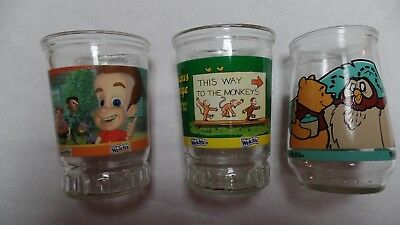 Welch's Jelly Glasses~Pooh's Grand Adventure#1~Curious George#6~Jimmy Neutron#6