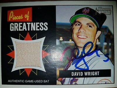 David Wright Signed Relic Bat Card Autographed Mets