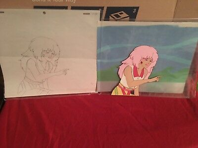 Jem and the Holograms Original Animation Cel and Sketch - JEM Pointing - OOAK!