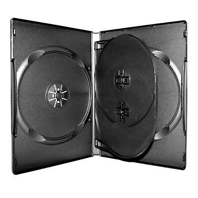 10 New Premium Black Triple Multi 3 Discs DVD CD Cases, Tray, Standard 14mm