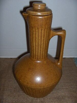 Vintage Monmouth Pottery Western Coffee Carafe Pitcher/W Lid Stoneware