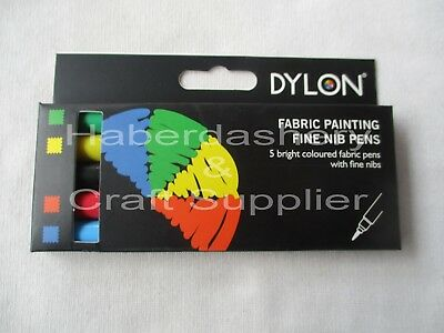 Dylon Color Fun Fabric Painting Pens 5 Colors